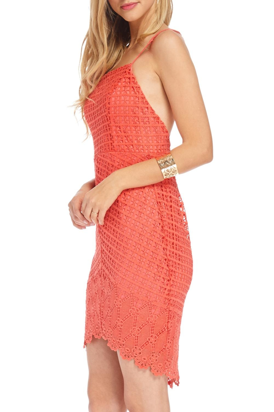Lush Spiced Coral Dress - Side Cropped Image
