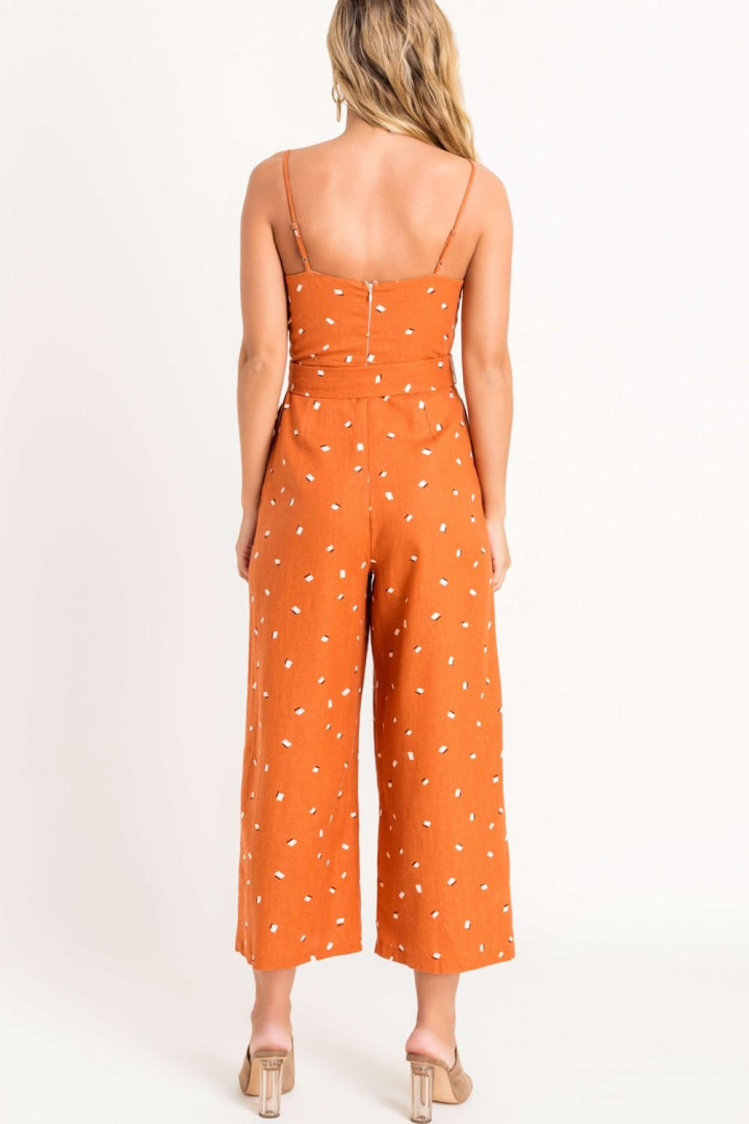 Lush Square Neckline Jumpsuit - Back Cropped Image