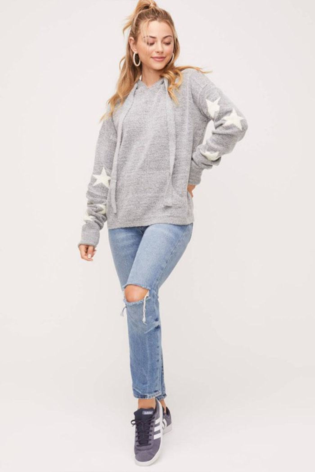 Lush Star Pullover Sweater - Side Cropped Image