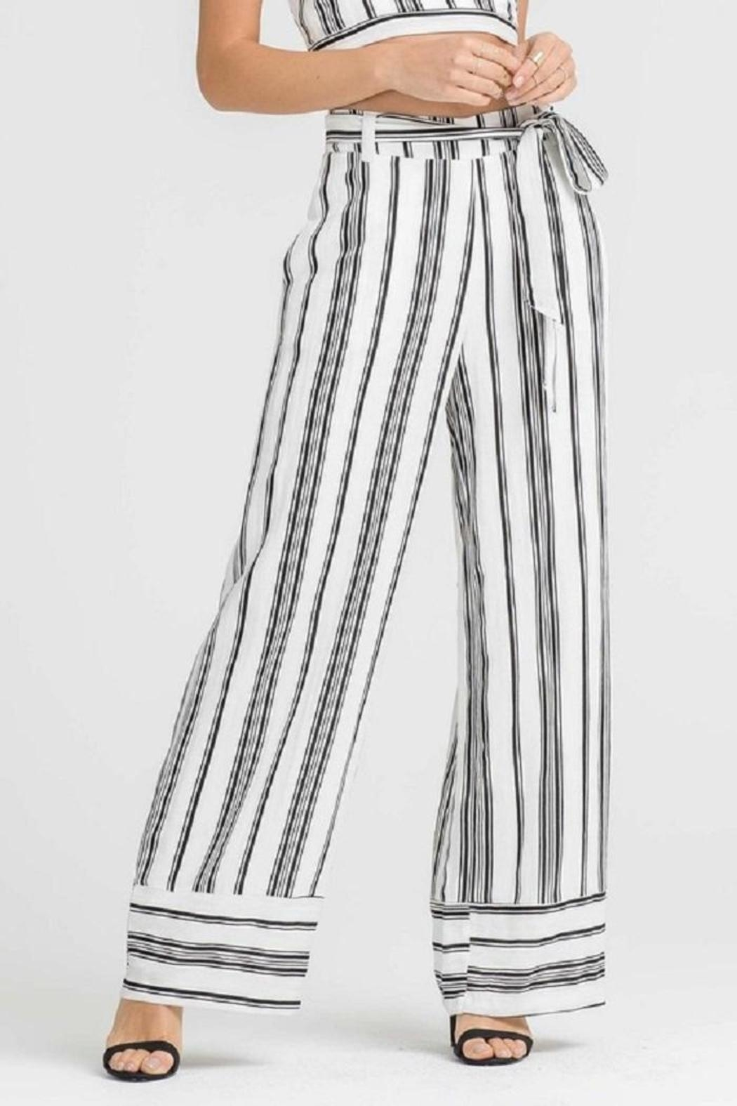 Lush Stripe Belted Pants - Front Full Image