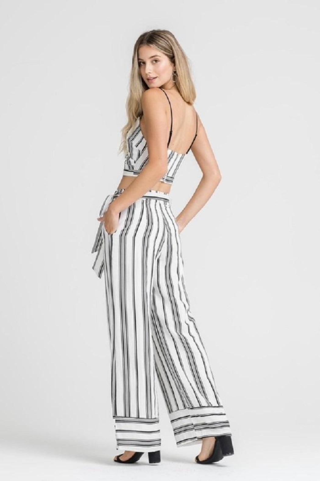 Lush Stripe Belted Pants - Side Cropped Image