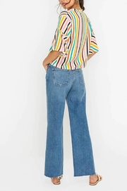 Lush Striped Cropped Blouse - Front full body