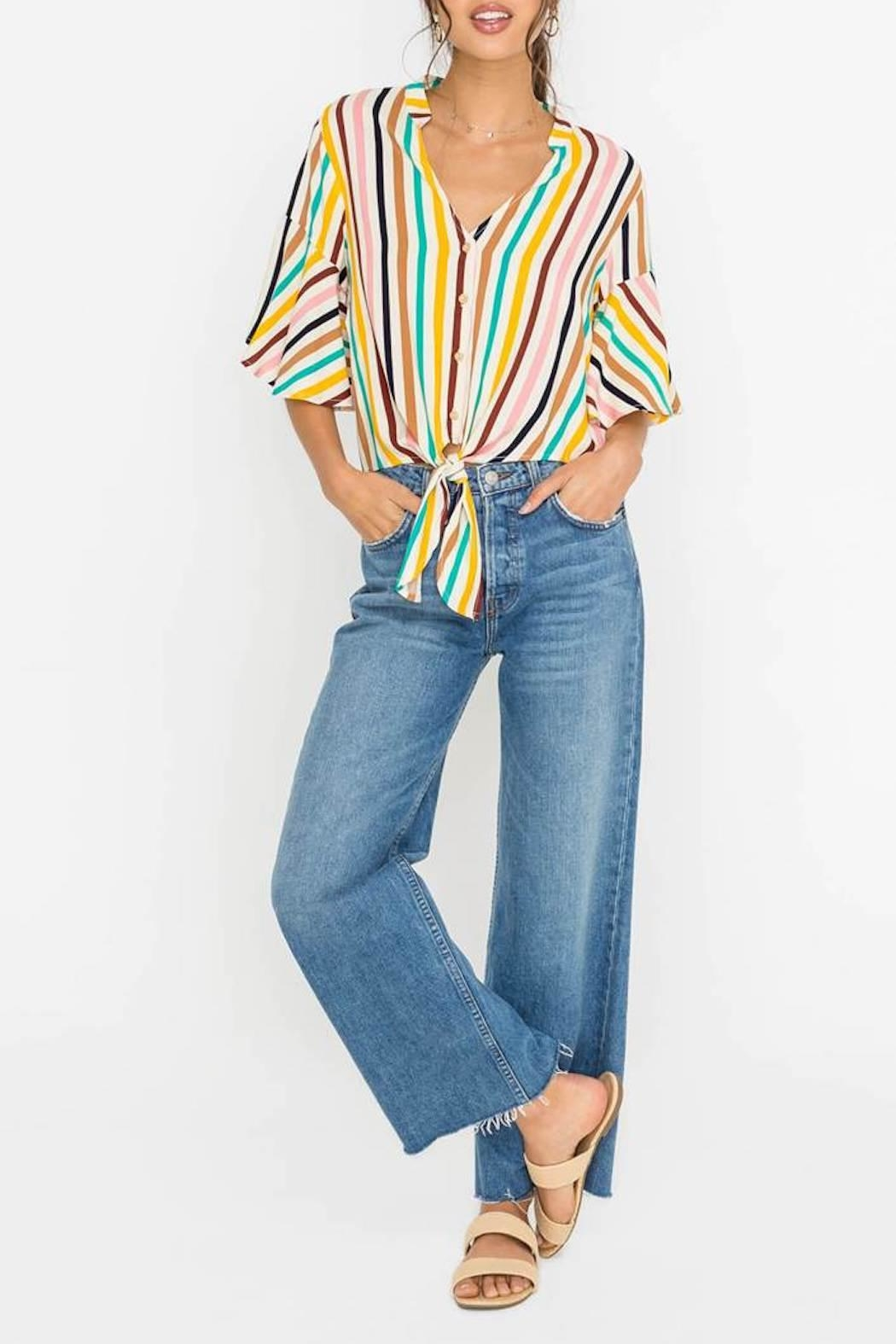Lush Striped Cropped Blouse - Main Image