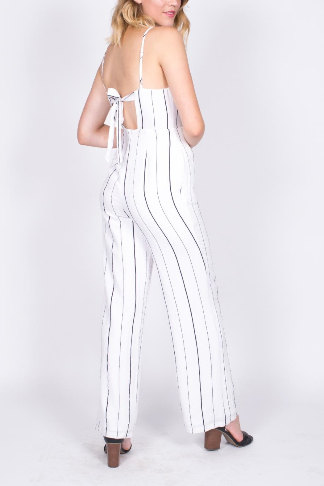 Lush Striped Cutout Jumpsuit - Front Full Image