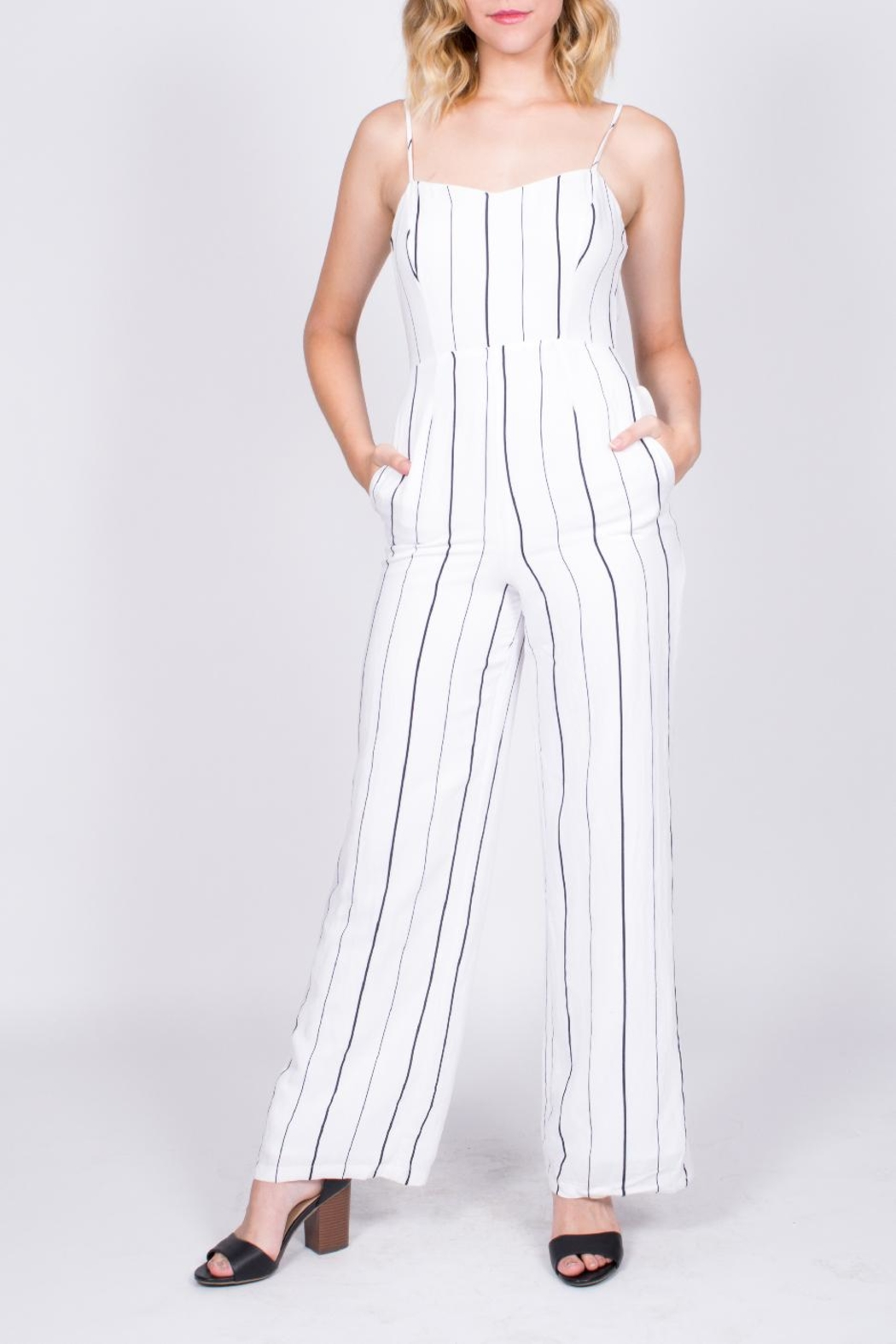 Lush Striped Cutout Jumpsuit - Main Image
