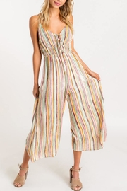 Lush Striped Front-Tie Jumpsuit - Front full body