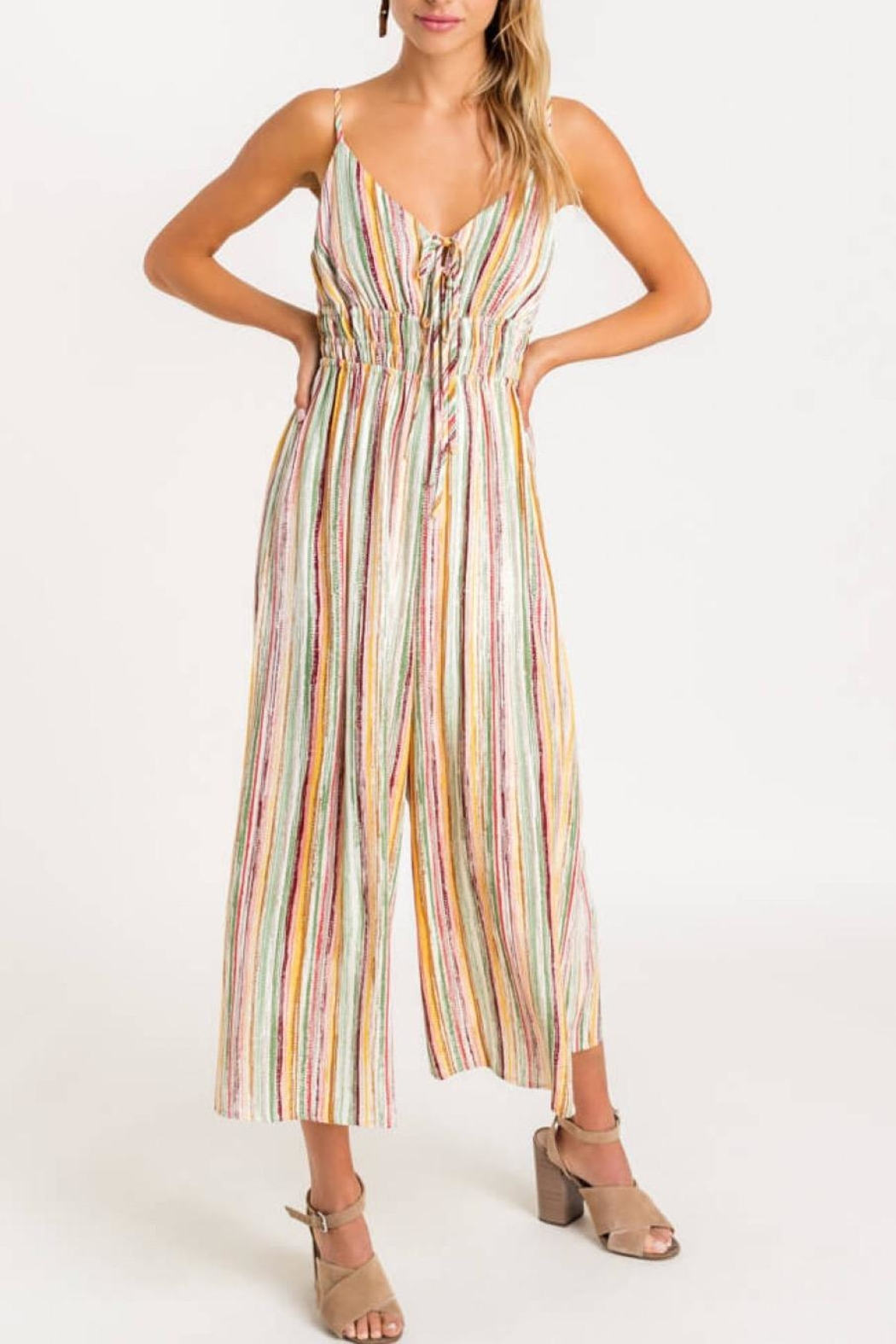 Lush Striped Front-Tie Jumpsuit - Side Cropped Image