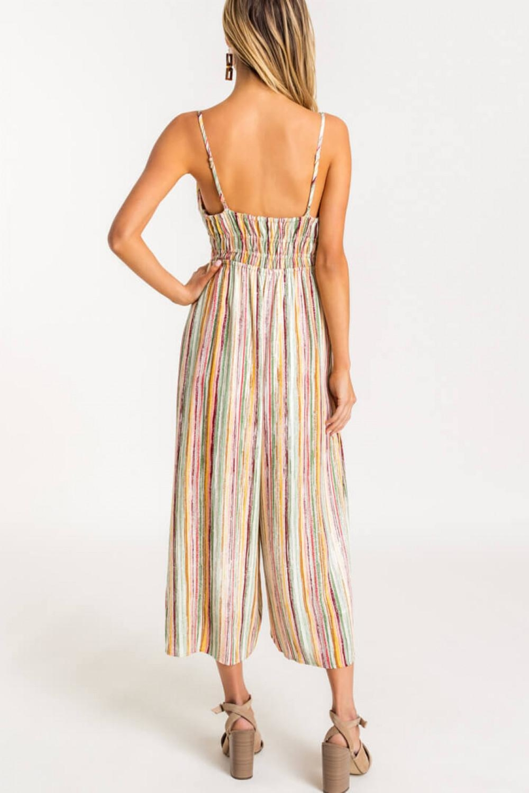 Lush Striped Front-Tie Jumpsuit - Back Cropped Image