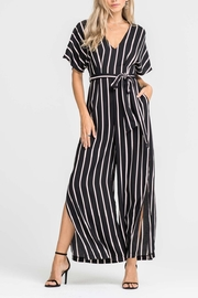 Lush Striped Tie Jumpsuit - Front cropped