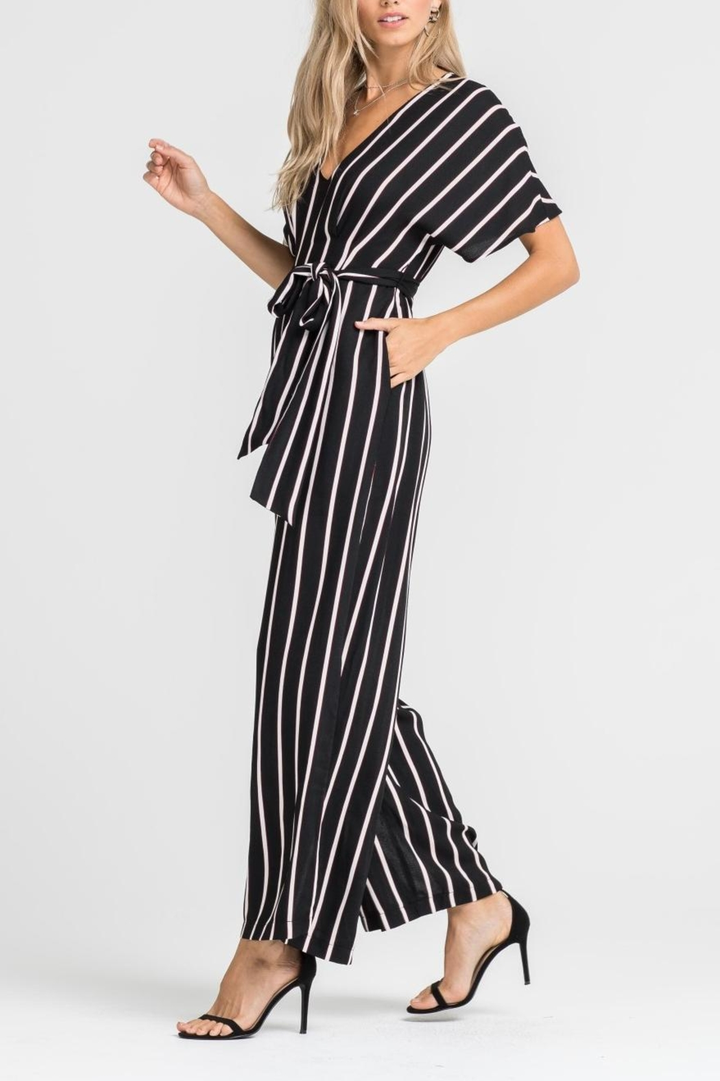 Lush Striped Tie Jumpsuit - Front Full Image
