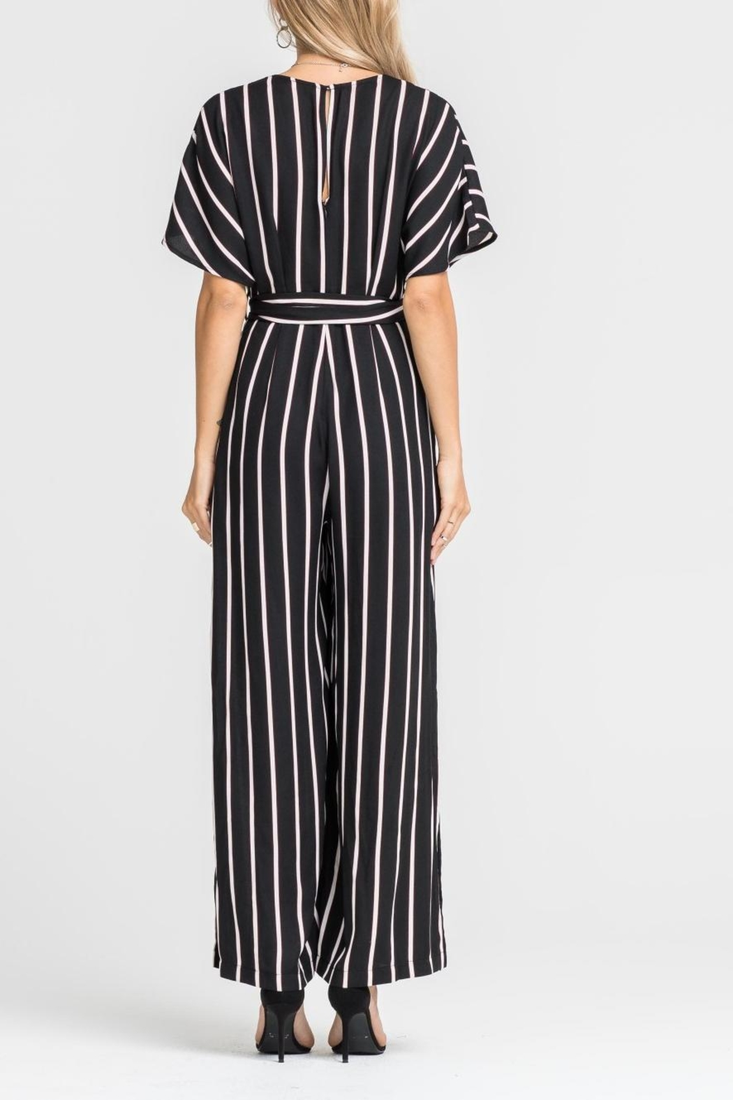 Lush Striped Tie Jumpsuit - Side Cropped Image