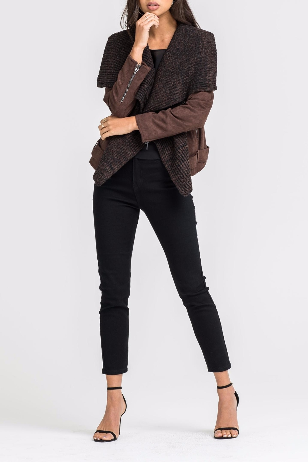 Lush Faux Suede Jacket - Front Cropped Image
