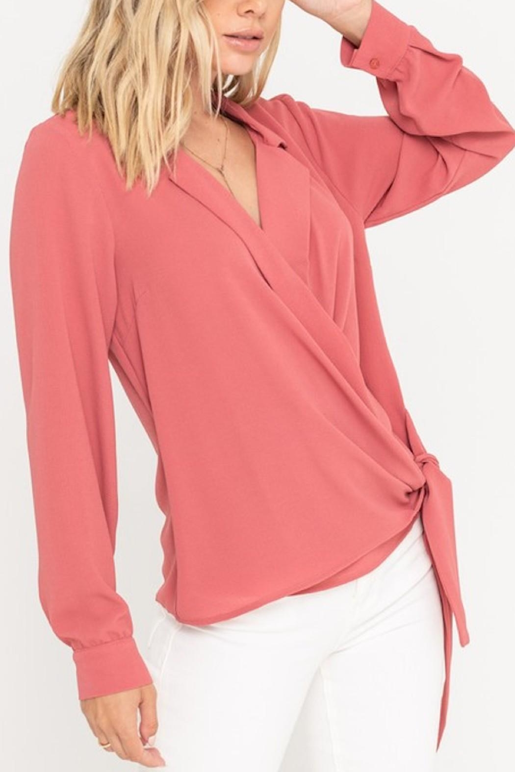 Lush Surplice Wrapped Blouse - Front Cropped Image