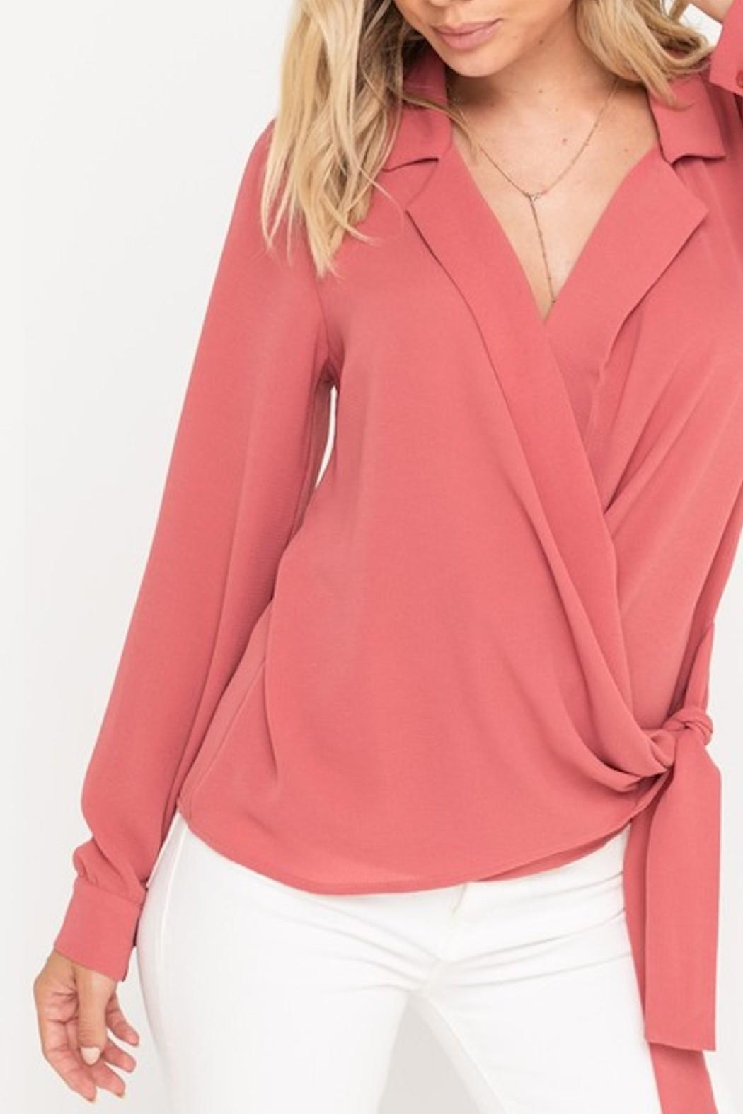 Lush Surplice Wrapped Blouse - Front Full Image