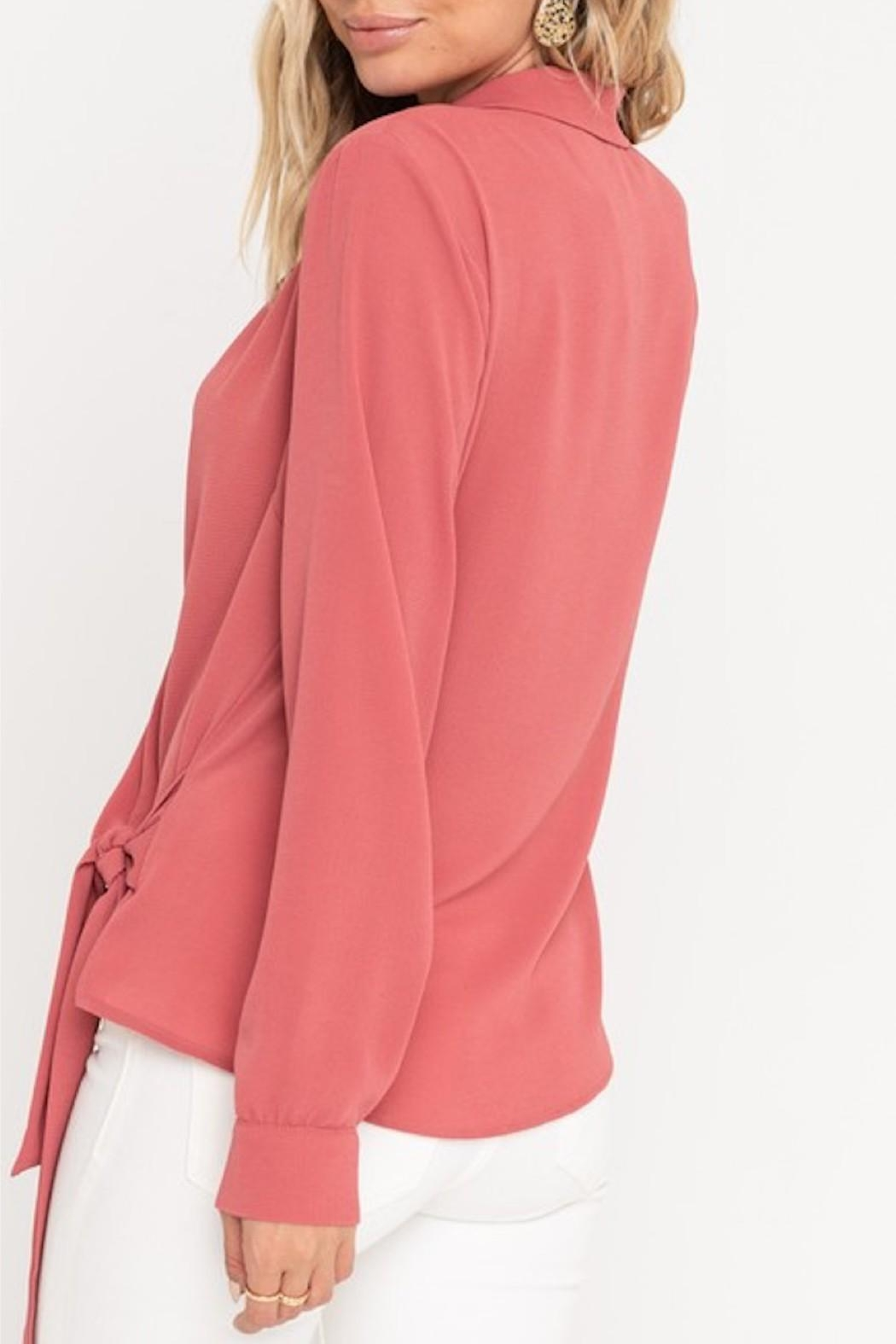 Lush Surplice Wrapped Blouse - Side Cropped Image