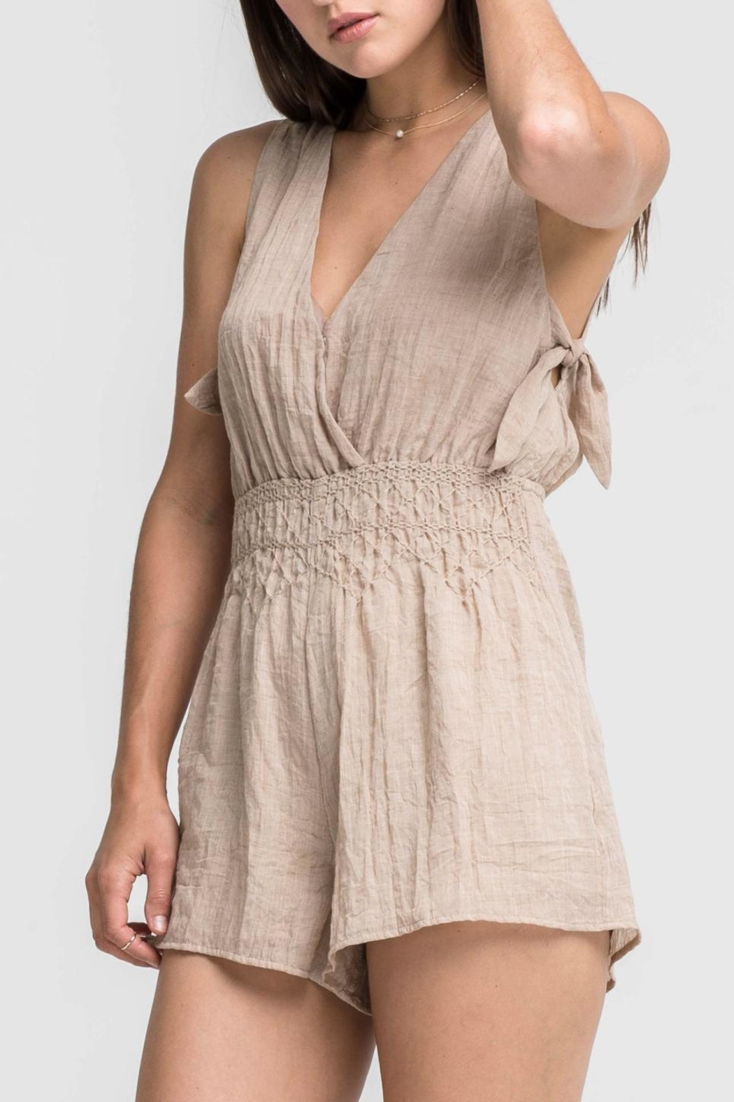 Lush Tan Stitched Romper - Front Cropped Image