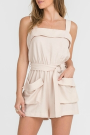 Lush Taupe Belted Romper - Product Mini Image