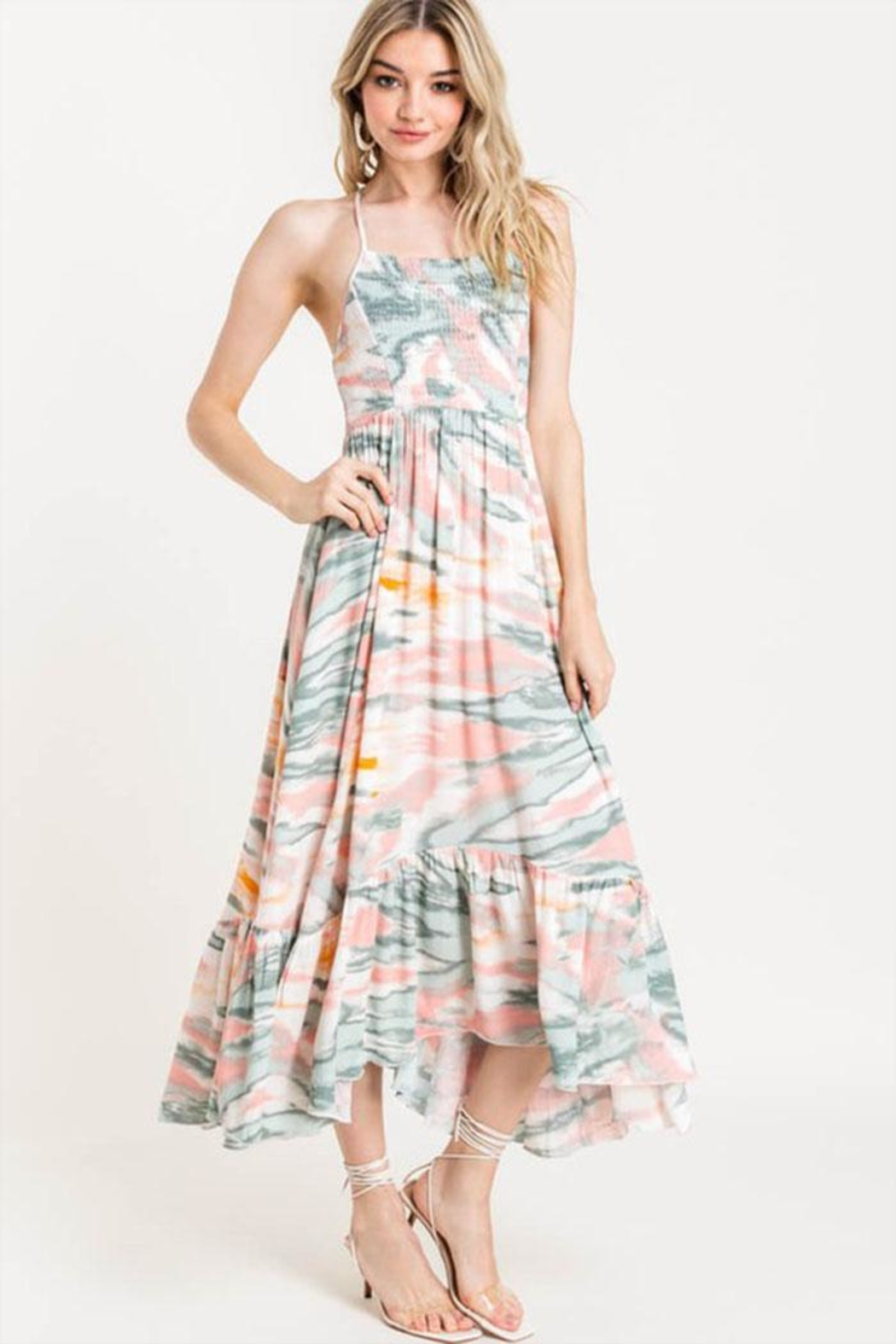 Lush Tie Dye Sundress - Front Cropped Image
