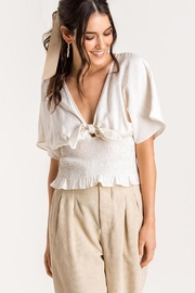 Lush Tie-Front Smocked Top - Front cropped