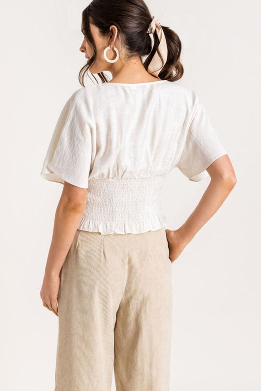 Lush Tie-Front Smocked Top - Side Cropped Image