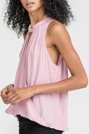 Lush Twist Neck Overlay Top - Front full body