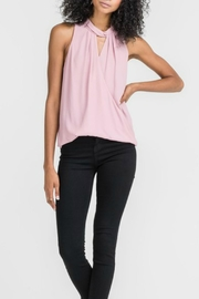Lush Twist Neck Overlay Top - Front cropped
