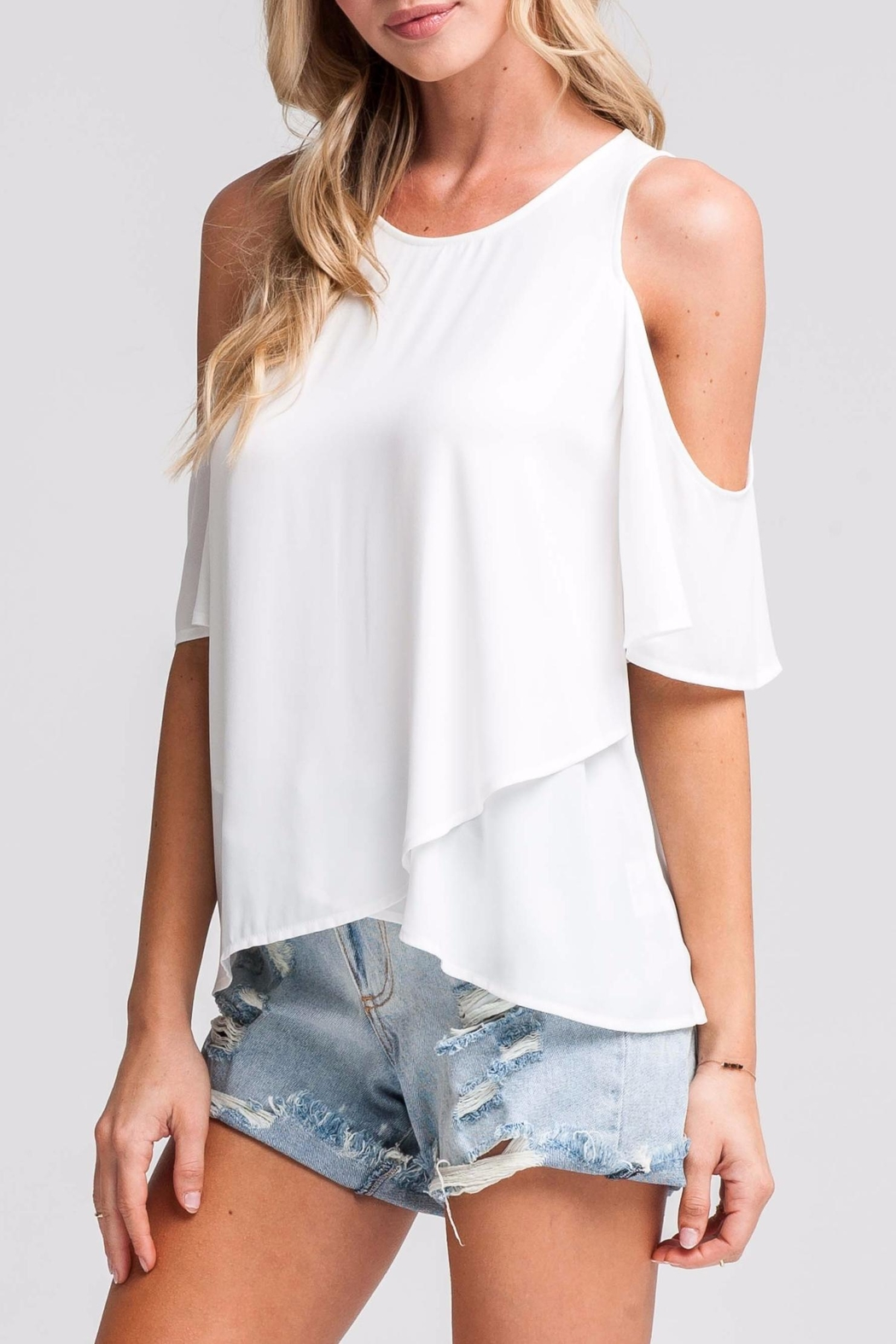 44a30db98fb6b Lush White Cold-Shoulder Top from Seattle by SIMPLY CHIC — Shoptiques
