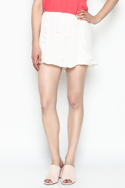 Lush White Ruffle Shorts - Front cropped