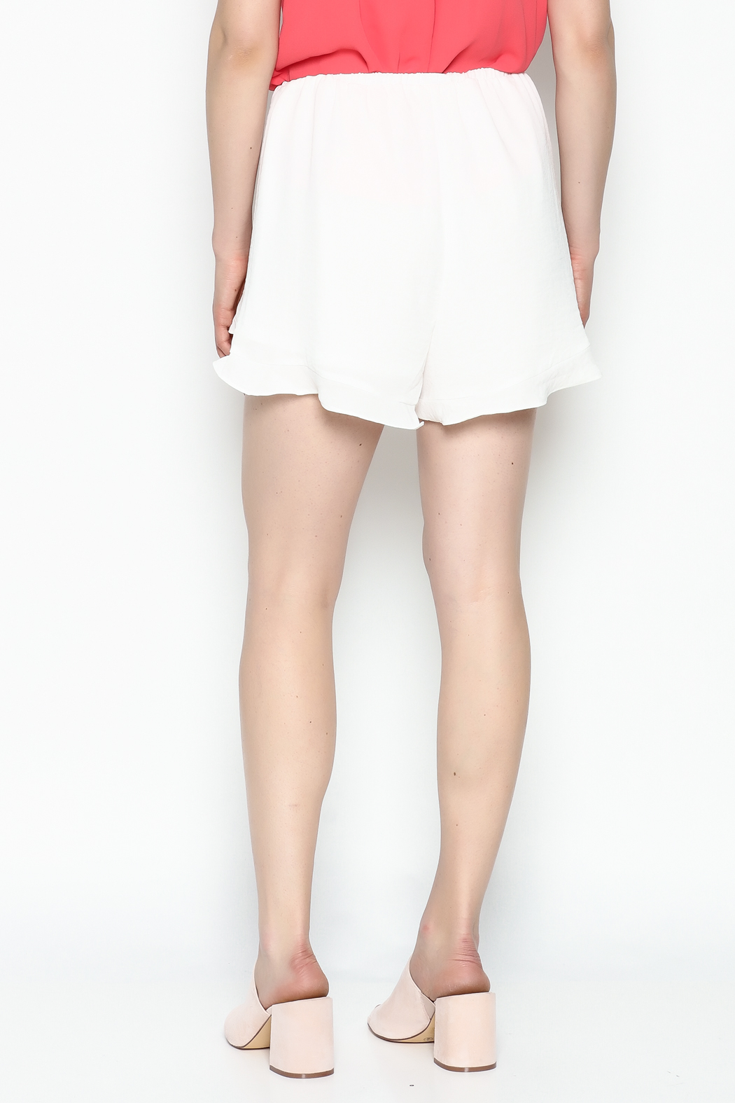 Lush White Ruffle Shorts - Back Cropped Image