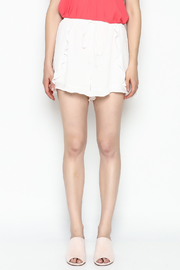 Lush White Ruffle Shorts - Front full body