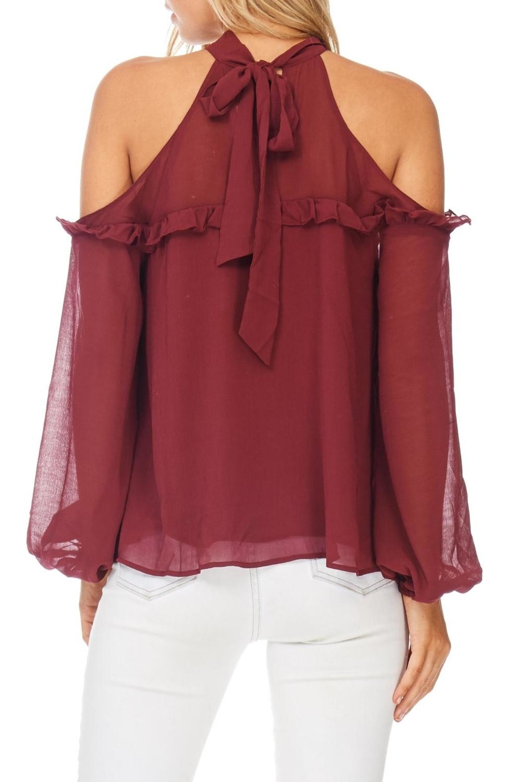 Lush Cold Shoulder Ruffle Top - Back Cropped Image