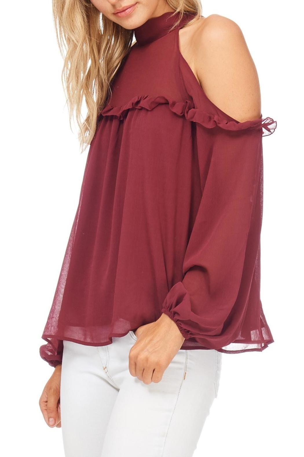 Lush Cold Shoulder Ruffle Top - Side Cropped Image