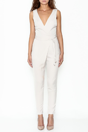 Lush Wrap Front Sleeveless Pantsuit - Front full body