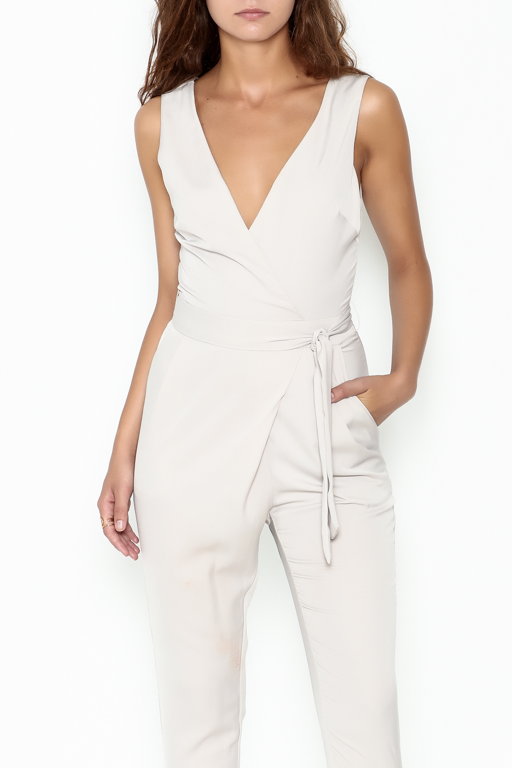 Lush Wrap Front Sleeveless Pantsuit - Front Cropped Image