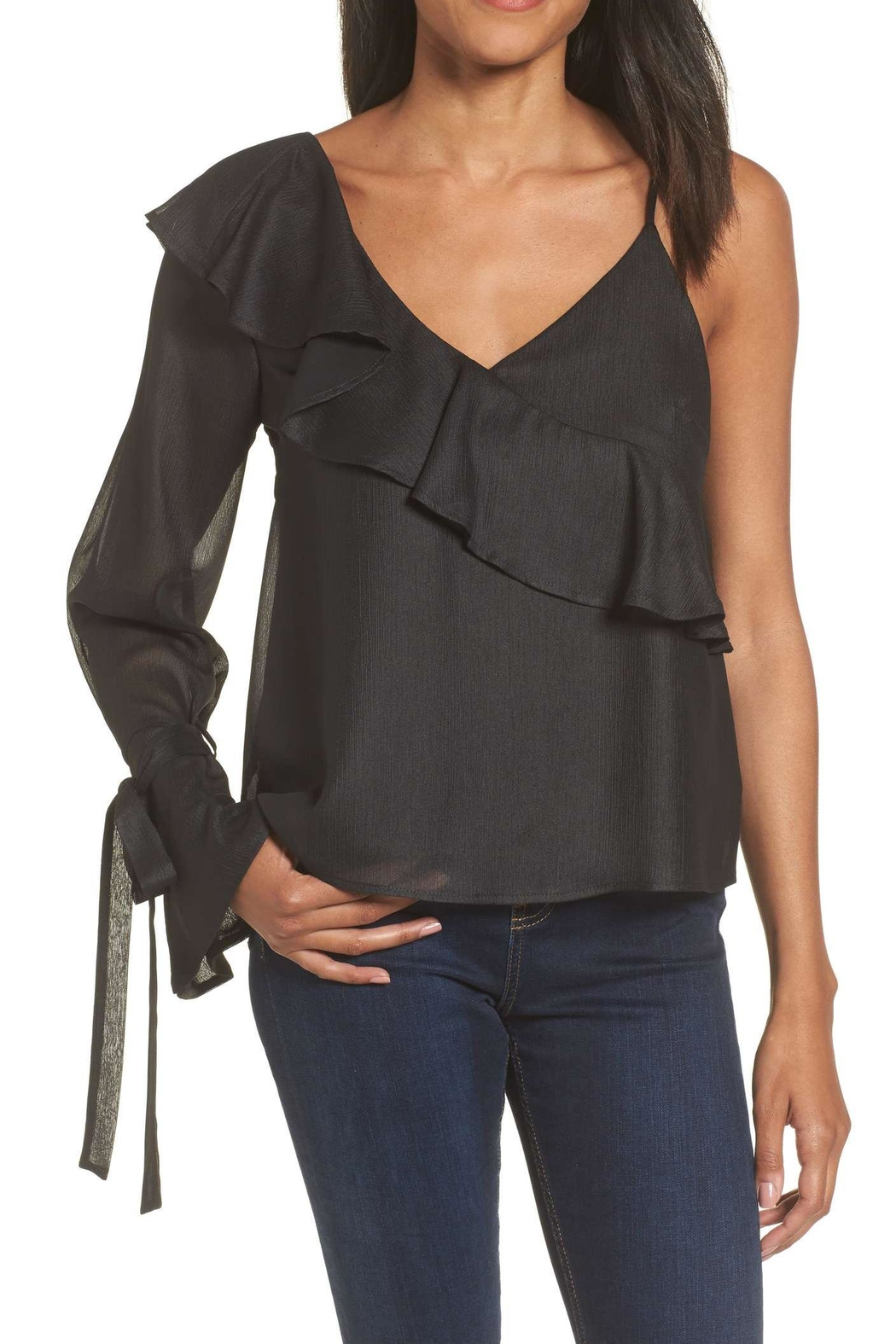 Lush Clothing  Asymmetrical Ruffle Blouse - Main Image