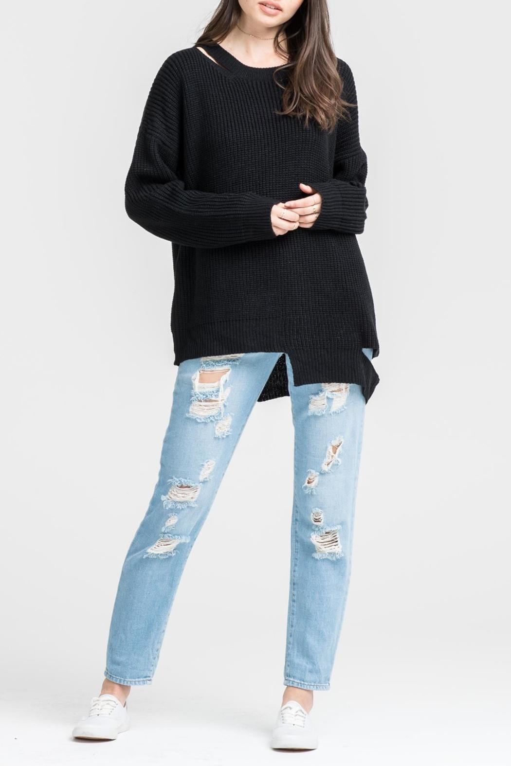 Lush Clothing  Black Slashed Sweater - Front Full Image
