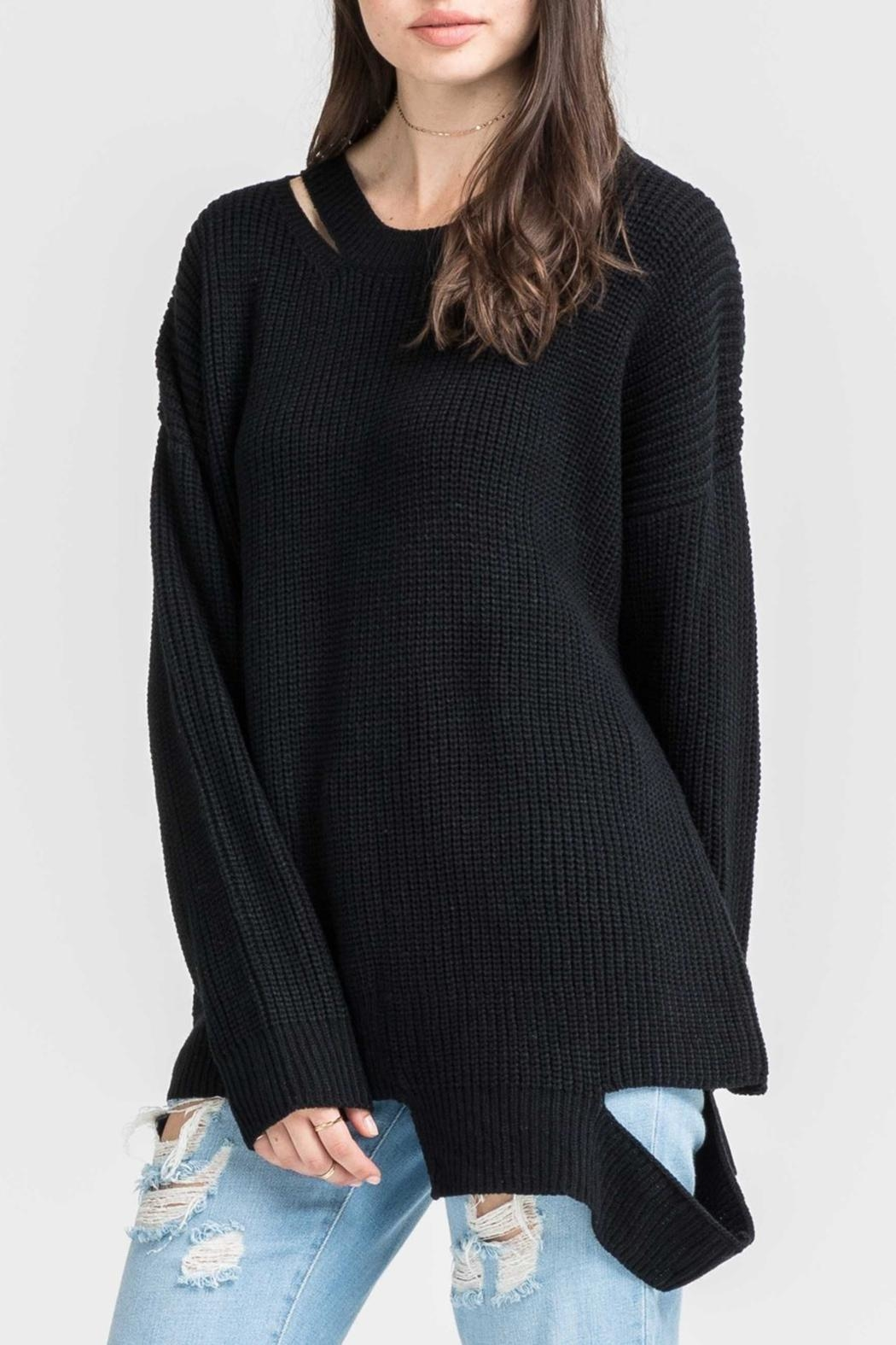 Lush Clothing  Black Slashed Sweater - Main Image