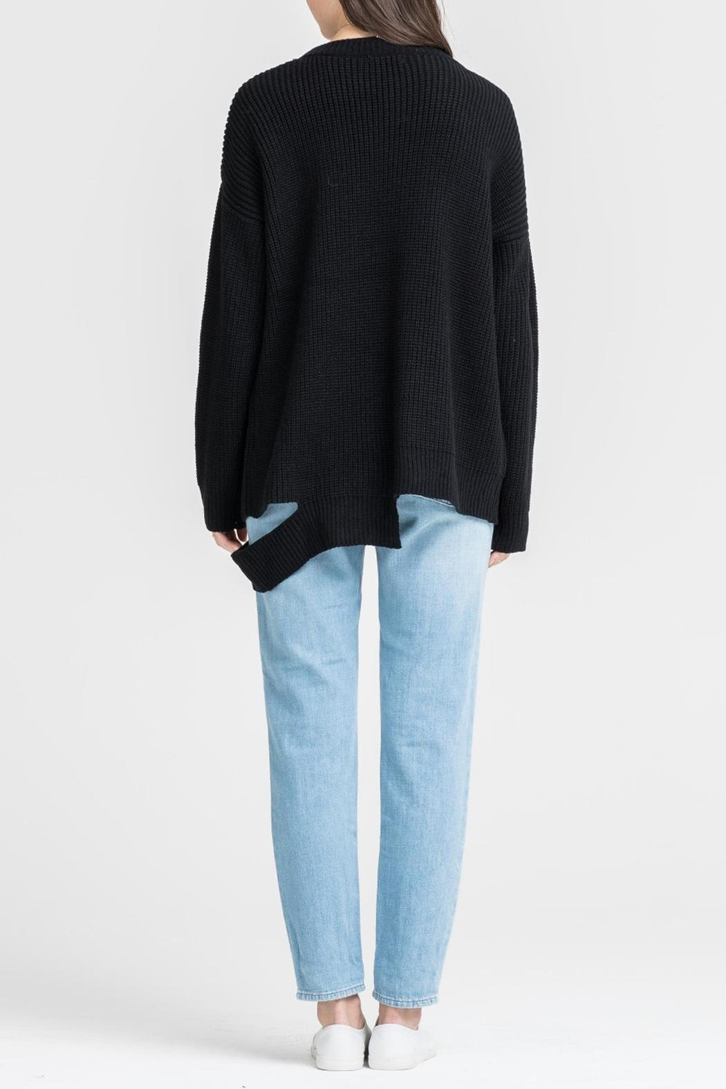 Lush Clothing  Black Slashed Sweater - Side Cropped Image