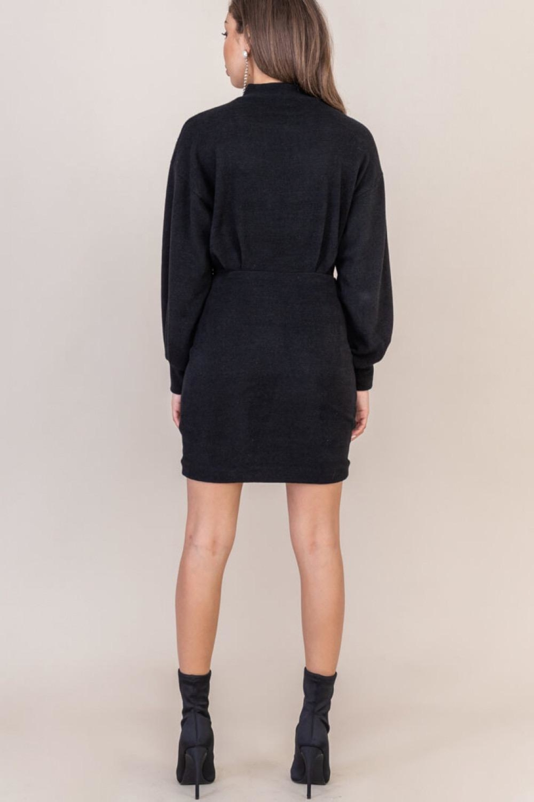 Lush Clothing  Black Sweater Dress - Back Cropped Image