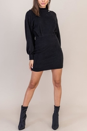 Lush Clothing  Black Sweater Dress - Front full body