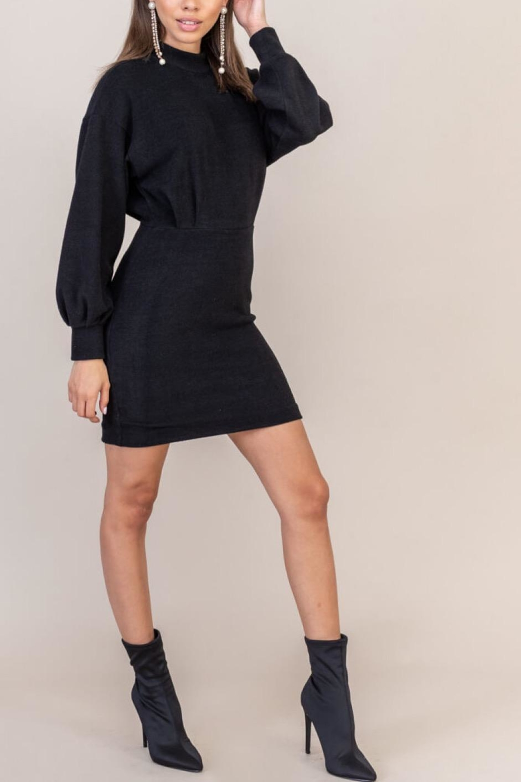 Lush Clothing  Black Sweater Dress - Side Cropped Image