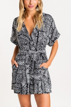 Lush Clothing  Black-White Tie Romper - Product List Image
