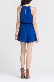 Lush Clothing  Blue Keyhole Romper - Front full body