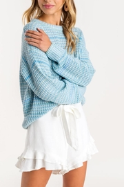Lush Clothing  Blue Knit Sweater - Front full body