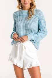 Lush Clothing  Blue Knit Sweater - Front cropped