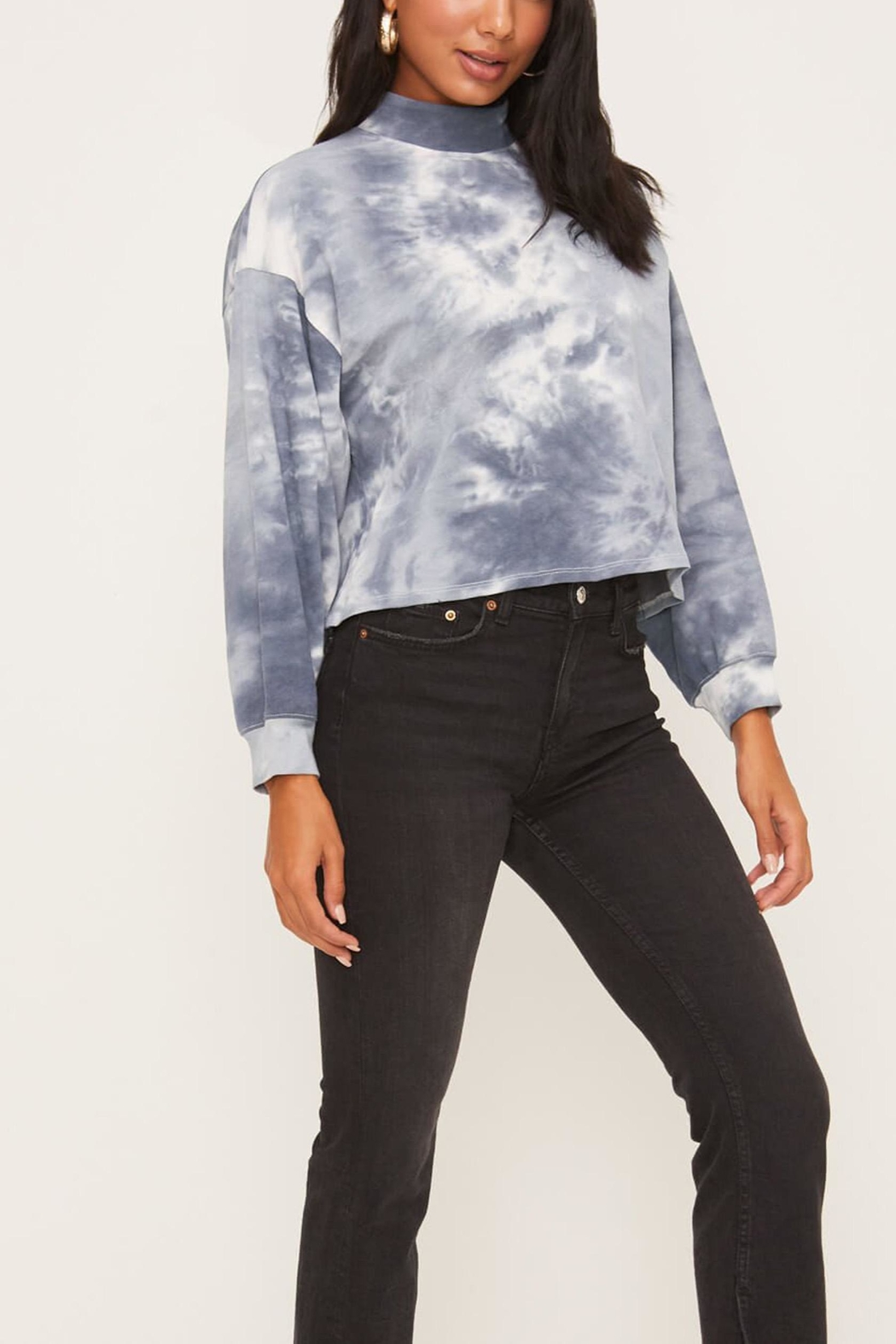 Lush Clothing  Blue Tie-Dye Top - Side Cropped Image