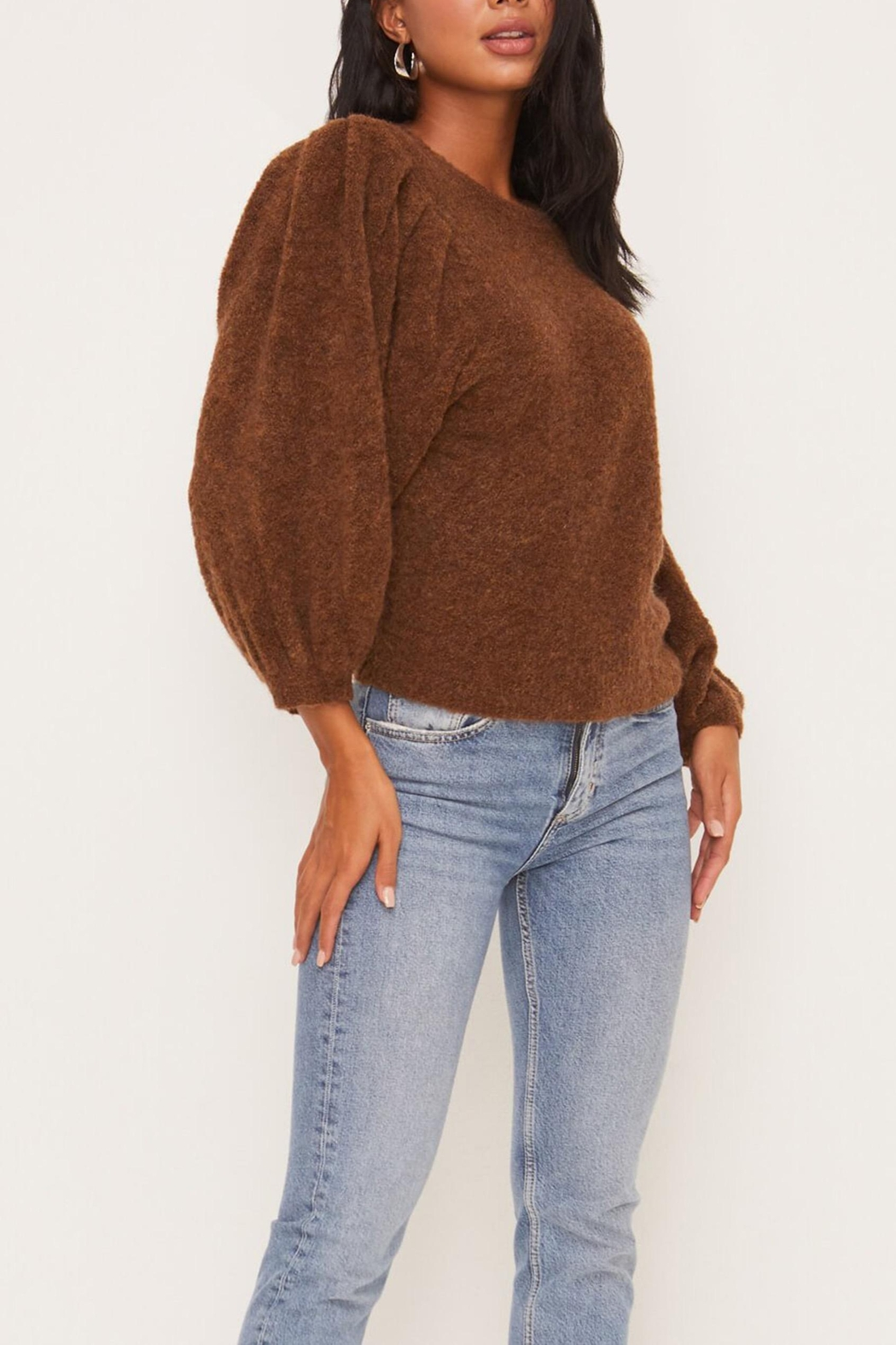 Lush Clothing  Brown Balloon-Sleeve Sweater - Side Cropped Image