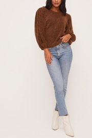Lush Clothing  Brown Balloon-Sleeve Sweater - Front full body