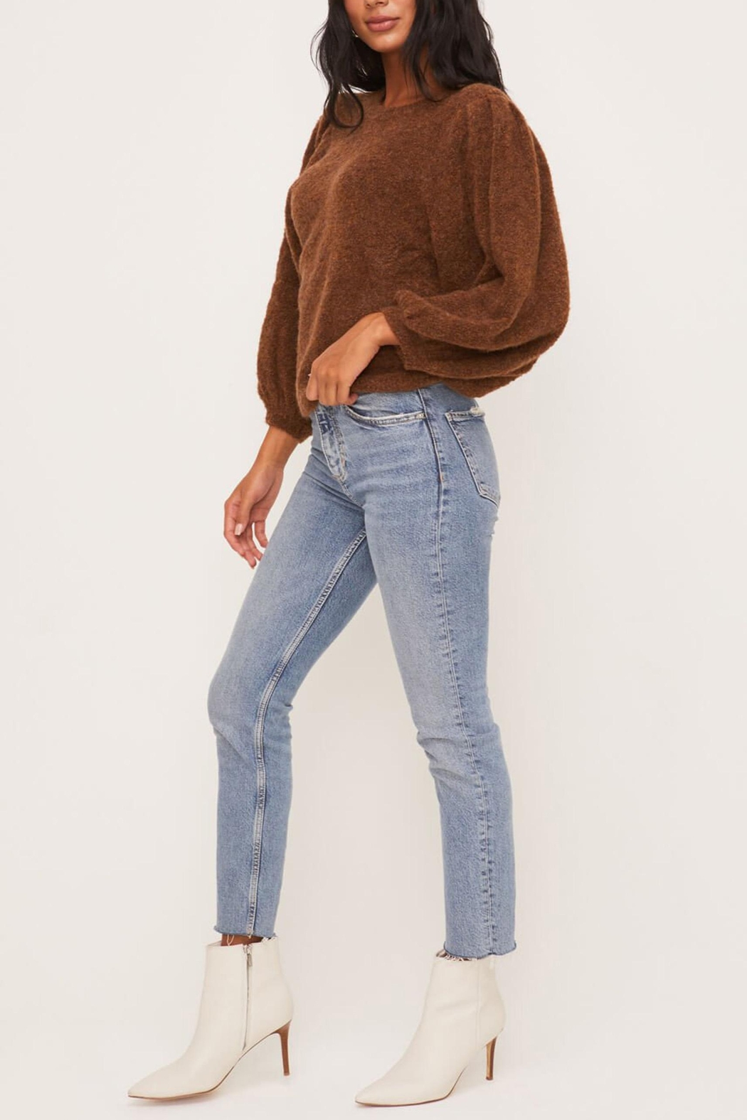 Lush Clothing  Brown Balloon-Sleeve Sweater - Back Cropped Image