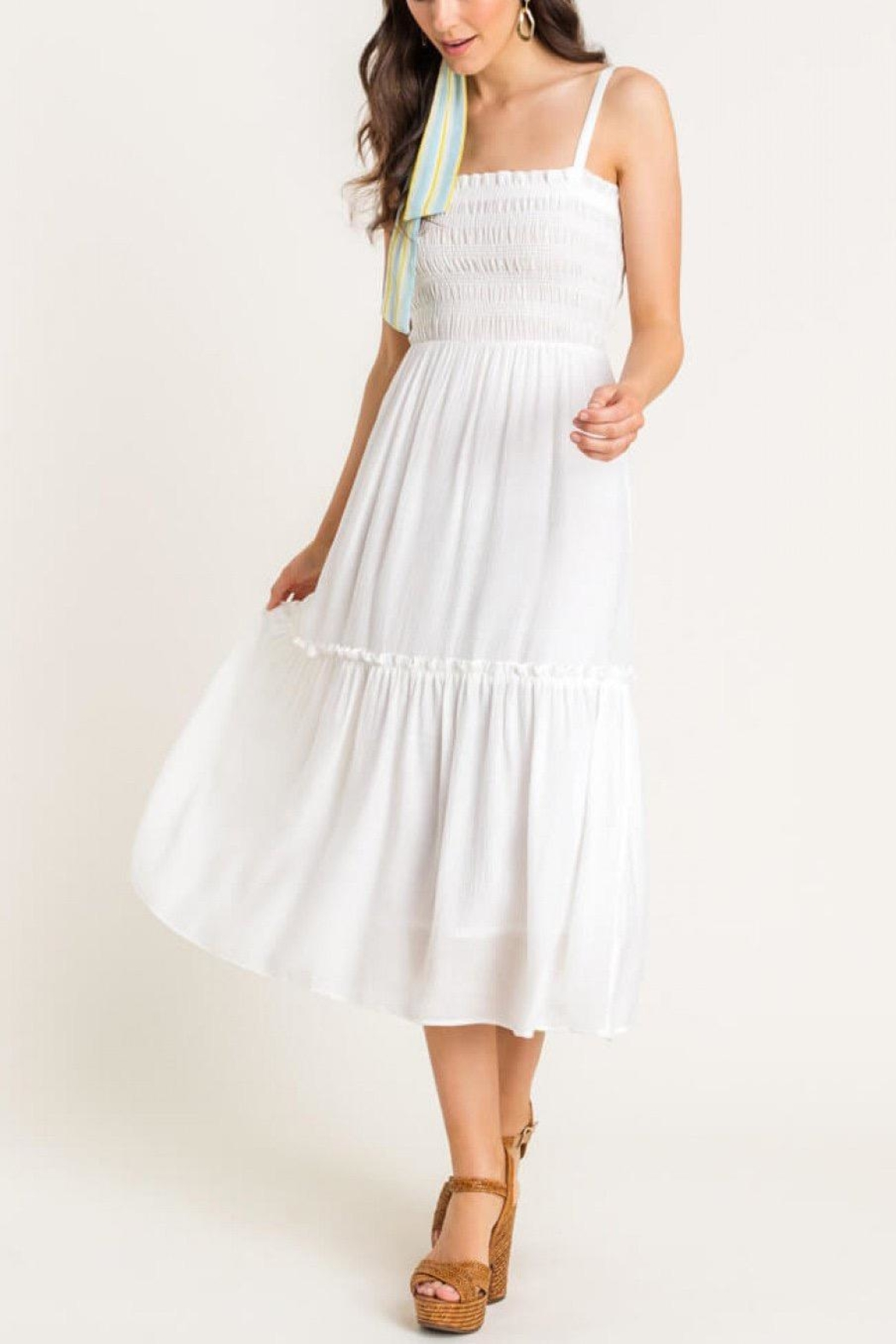 Lush Clothing  Cami Tiered Midi-Dress - Front Full Image